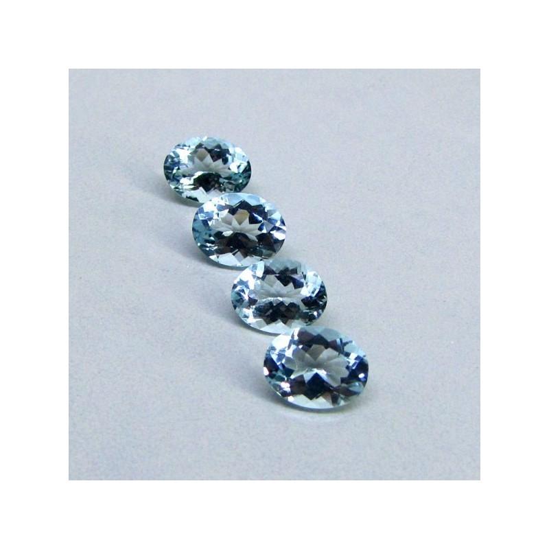 6.48 Cts. Aquamarine 9x7mm Oval Shape Gemstone Parcel (4 Pcs.)