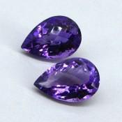 22.05 Cts. Brazilian Amethyst 18.5x12.5-19x13mm Pear Shape Gemstone Parcel (2 Pcs.)