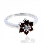 Garnet and Diamond White CZ 925 Sterling Silver Ring
