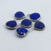57.25 Cts. Lapis Lazuli 14mm Bezel Connector Heart Shape Gemstone Parcel (6 Pcs.)