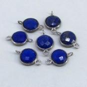 34.25 Cts. Lapis Lazuli 10mm Bezel Connector Round Shape Gemstone Parcel (7 Pcs.)