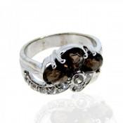 Smoky Quartz and Diamond White CZ 925 Sterling Silver Ring