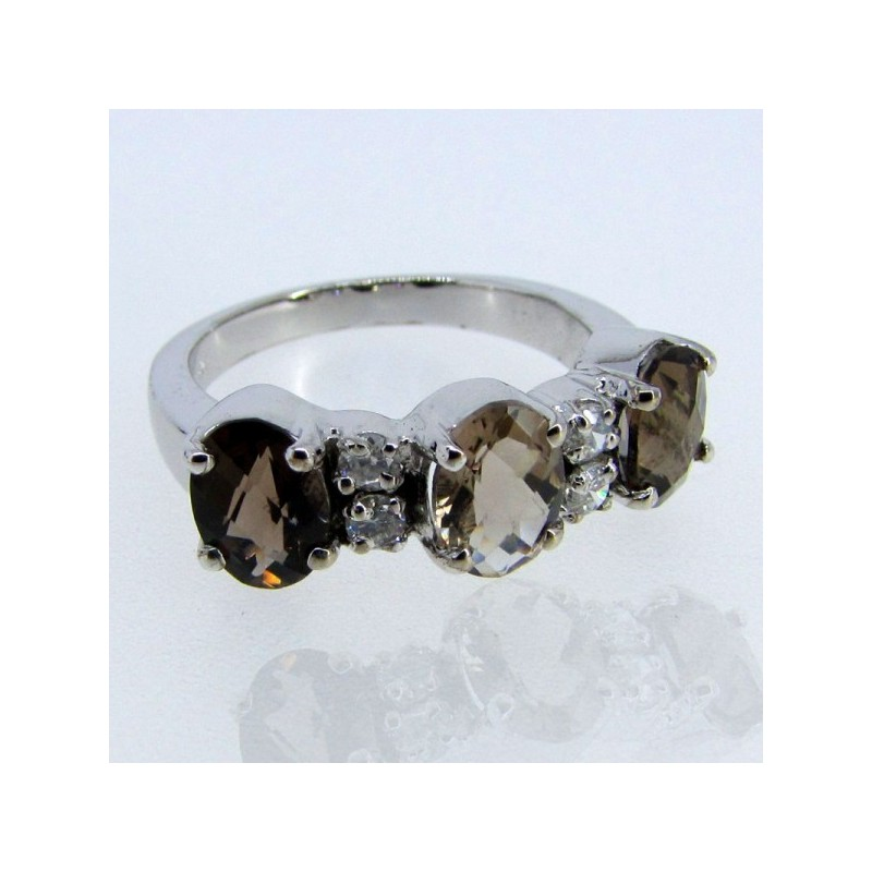 Smoky Quartz 925 Sterling Silver Ring