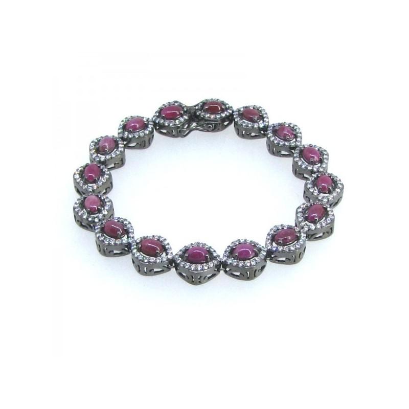 Ruby and Diamond White CZ 925 Sterling Silver Bracelet