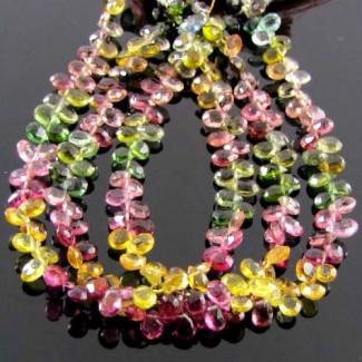 Multi-Color Tourmaline 6-7mm Pear Shape Briolette Strand