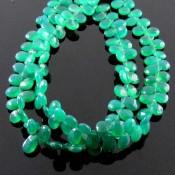 Green Onyx 6-7mm Pear Shape Briolette Strand