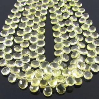 Lemon Quartz 6-7mm Pear Shape Briolette Strand