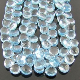Sky-Blue Topaz 8-9mm Heart Shape Briolette Strand