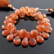 Sun Stone 10-12mm Pear Shape Briolette Strand