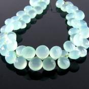 Aqua Chalcedony 8-9mm Heart Shape Briolette Strand