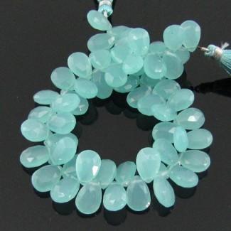 Aqua Chalcedony 10-12mm Pear Shape Briolette Strand