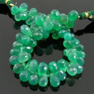 Green Onyx 10-12mm Drops Shape Briolette Strand