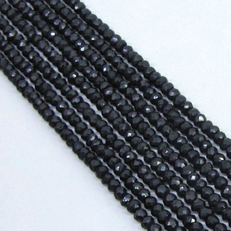 Black Spinel 4mm Rondelle Shape Bead Strands