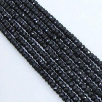 Black Spinel 4-4.5mm Faceted Rondelle Shape Beads Strand