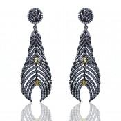 Lemon Quartz and Diamond White CZ 925 Sterling Silver Earrings