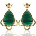 Green Quartz and Diamond White CZ 925 Sterling Silver Earrings