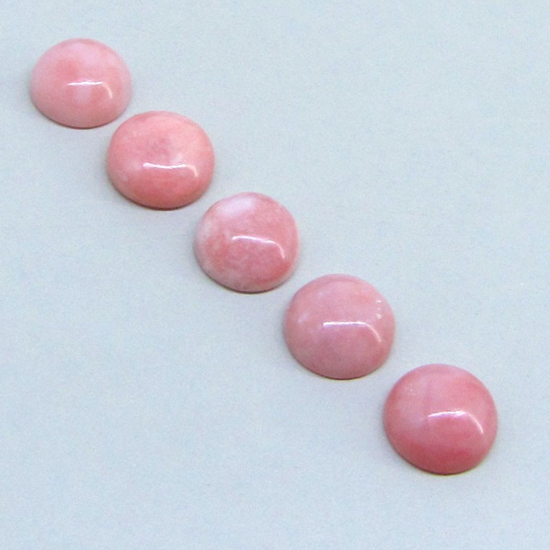 24.70 Cts. Pink Opal 12mm Round Shape Cabochon Parcel (5 Pcs.)