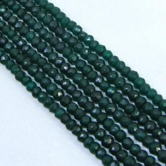 Dyed Emerald (Ropada) 5-5.5mm Hand Cut Rondelle Shape Beads Strand