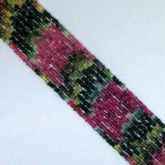 Multi Color Tourmaline 3-3.5mm Hand Cut Rondelle Shape Beads Strand