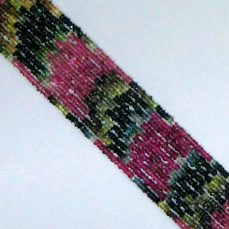 Multi Color Tourmaline 3mm Rondelle Shape Bead Strand