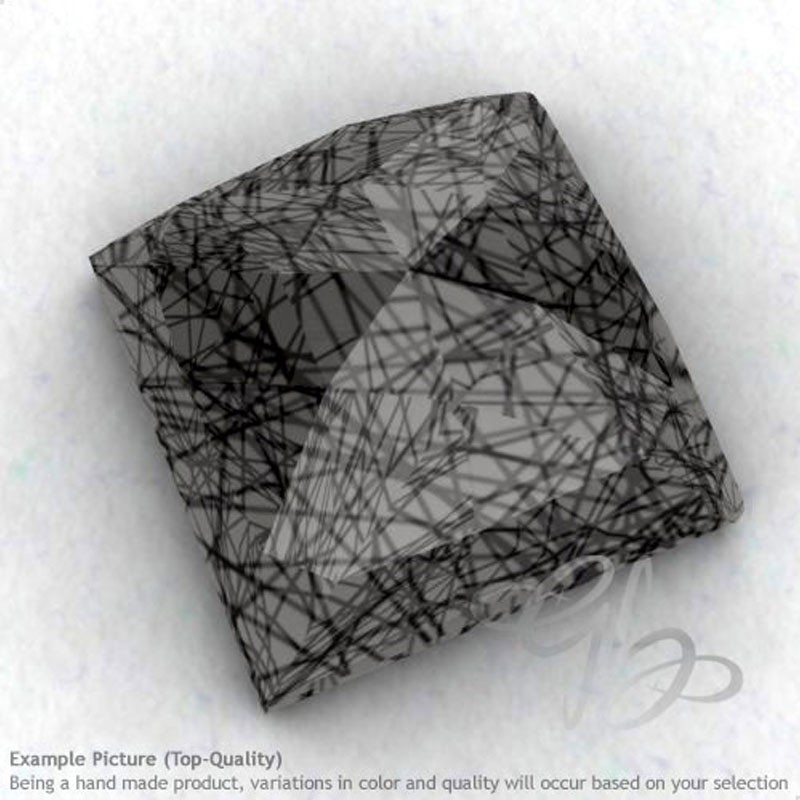 Black Rutile Square Shape Calibrated Cabochons