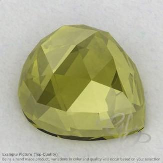 Olive Quartz Heart Shape Calibrated Cabochons