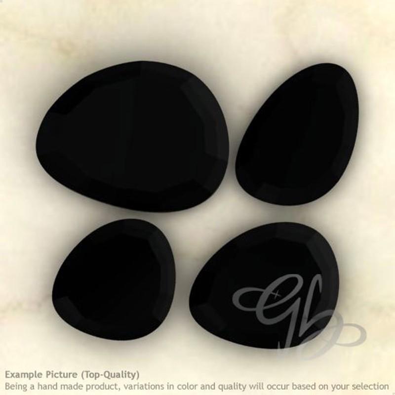 Black Onyx Irregular Shape Rose-Cut Gemstones