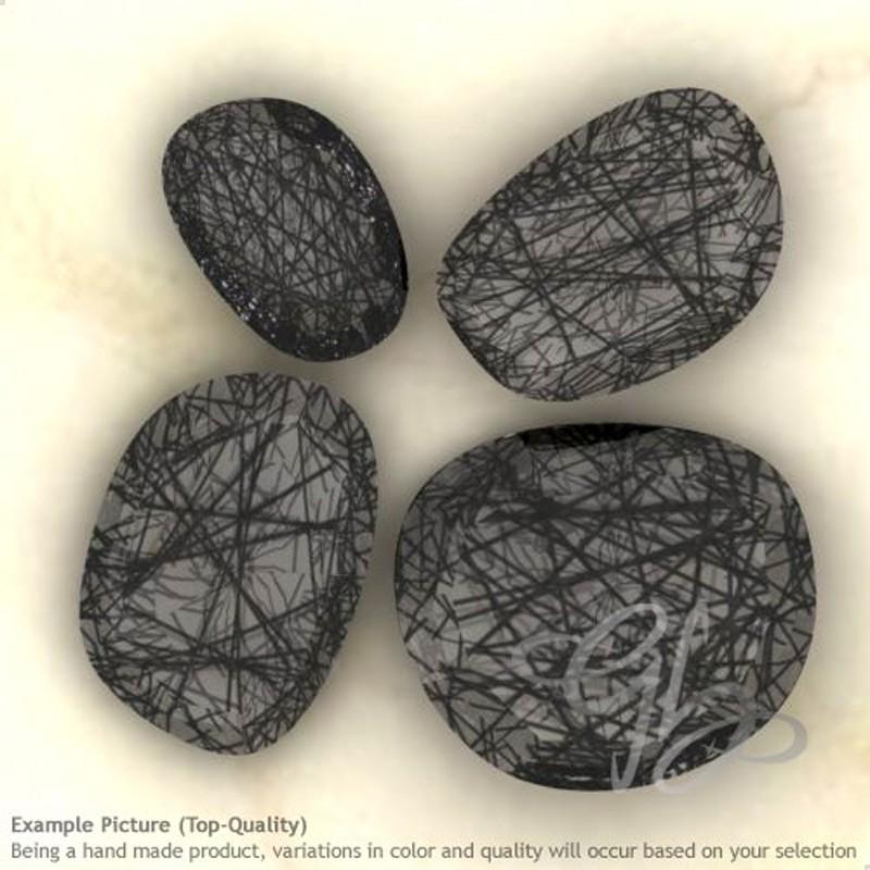 Black Rutile Irregular Shape Rose-Cut Gemstones