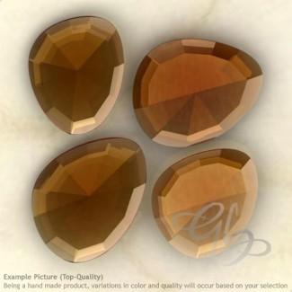 Cognac Quartz Irregular Shape Rose-Cut Gemstones