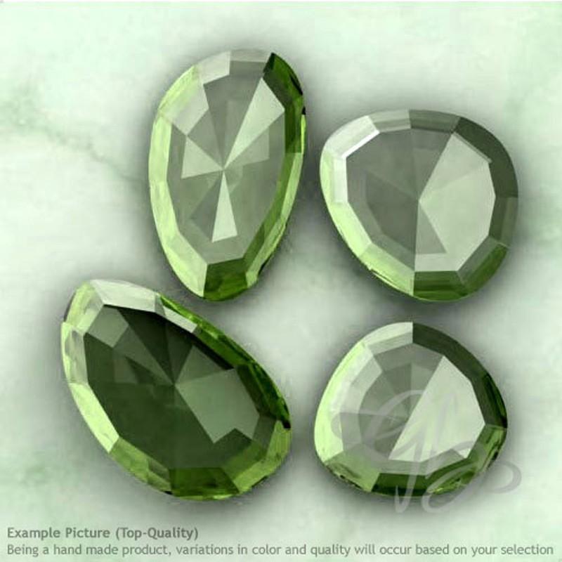 Green Amethyst Irregular Shape Rose-Cut Gemstones
