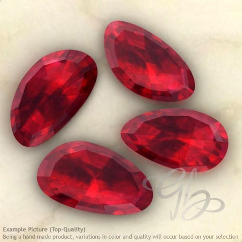 Lab Ruby Irregular Shape Rose-Cut Gemstones