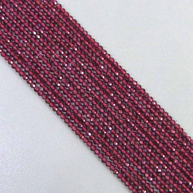 Rhodolite Garnet 2-2.5mm Micro Faceted Rondelle Shape Beads Strand