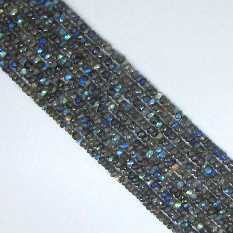 Labradorite -3.5mm Hand Cut Rondelle Shape Beads Strand