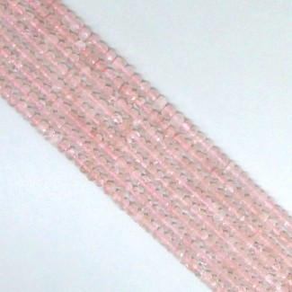 Rose Quartz 5-5.5mm Hand-Cut Rondelle Shape Beads Strand