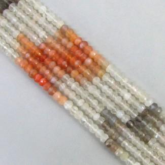 Multi Moonstone 4-4.5mm Faceted Rondelle Shape Beads Strand