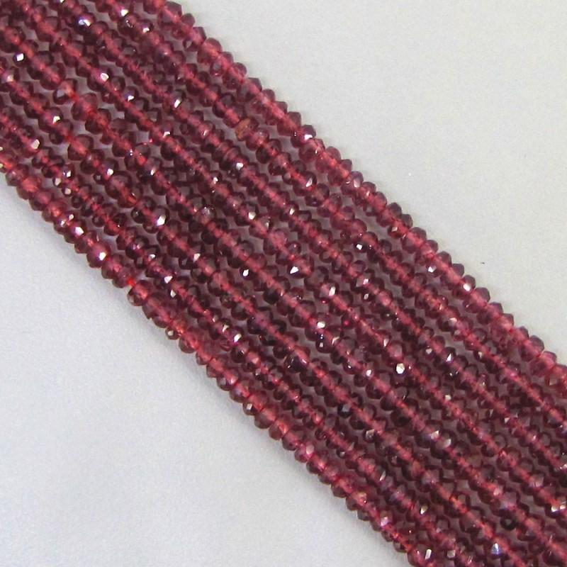 Garnet 4-4.5mm Faceted Rondelle Shape Beads Strand