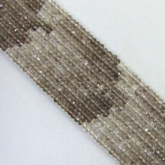 Smoky Quartz 3-3.5mm Faceted Rondelle Shape Beads Strand