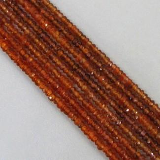 Spessartite Garnet 2-2.5mm Faceted Rondelle Shape Beads Strand
