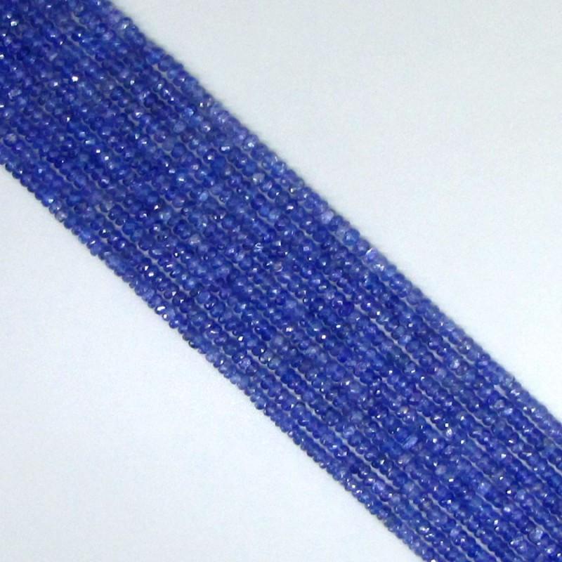 Tanzanite 2-2.5mm Hand Cut Rondelle Shape Beads Strand