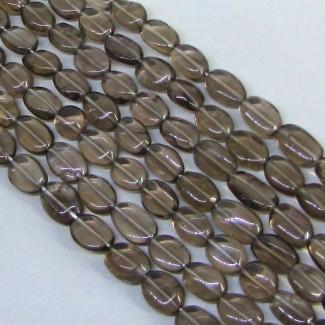 Smoky Quartz 8-10mm Smooth Oval Shape Bead Strands