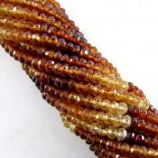 Hessonite Garnet 4-4.5mm Faceted Rondelle Shape Beads Strand