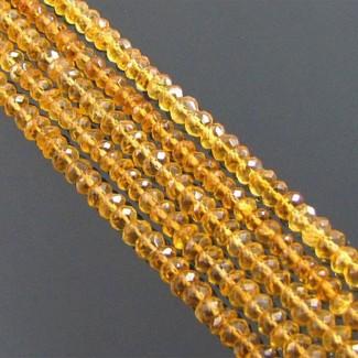 Citrine 4-4.5mm Faceted Rondelle Shape Bead Strands