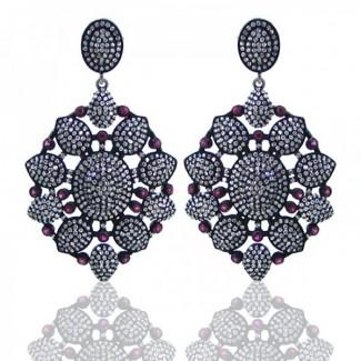 Multi Stones 925 Sterling Silver Earrings