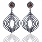 Spessartite Garnet and Diamond White CZ 925 Sterling Silver Earrings