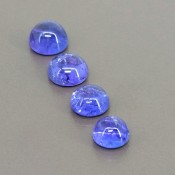 12.35 Cts. Tanzanite 7-8.5mm Smooth Round Shape Cabochon Parcel (4 Pcs.)