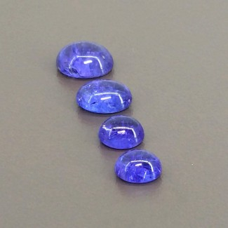 9.80 Cts. Tanzanite 7.5x6.5-10x8mm Smooth Oval Shape Cabochon Parcel (4 Pcs.)