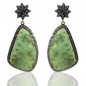 Green Quartz and Diamond White CZ 925 Sterling Silver Earring