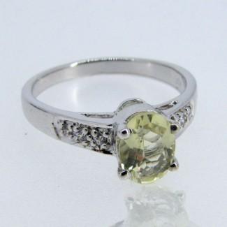 Lemon Quartz and Diamond White CZ 925 Sterling Silver Ring