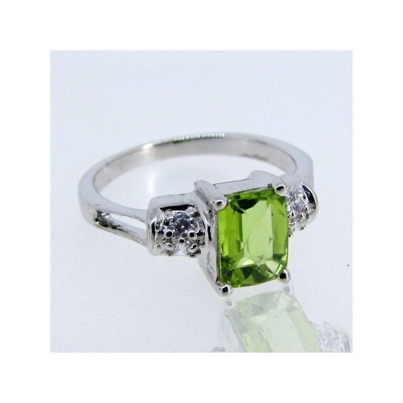 Peridot and Diamond White CZ 925 Sterling Silver Ring
