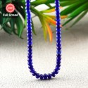 Blue Sapphire 5-6.5mm Smooth Rondelle Shape 15 Inch Long Gemstone Beads Strand - SKU:156826